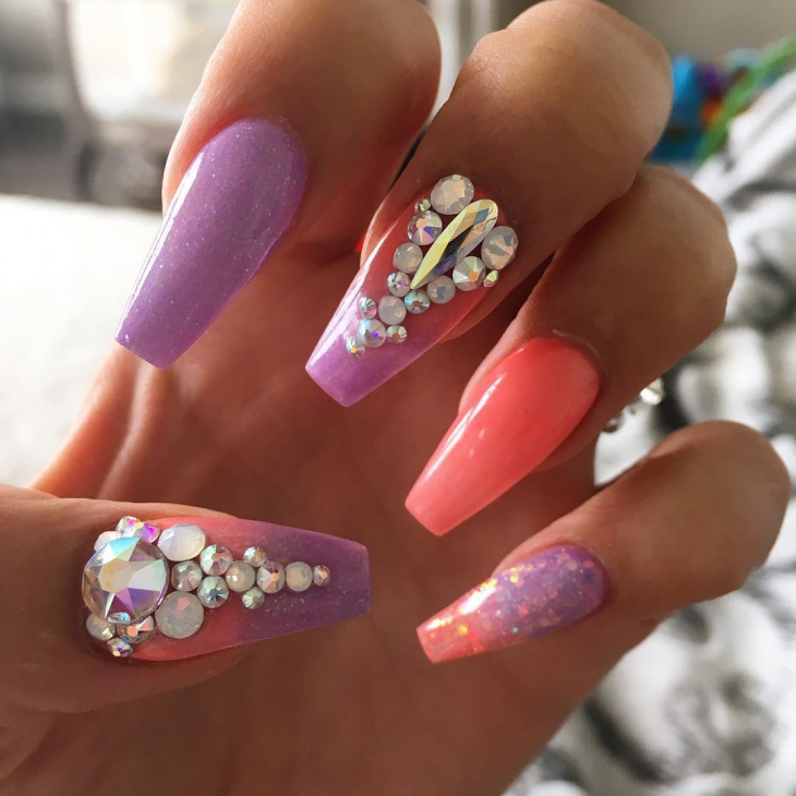 Colorful Rhinestone Ombre Nails