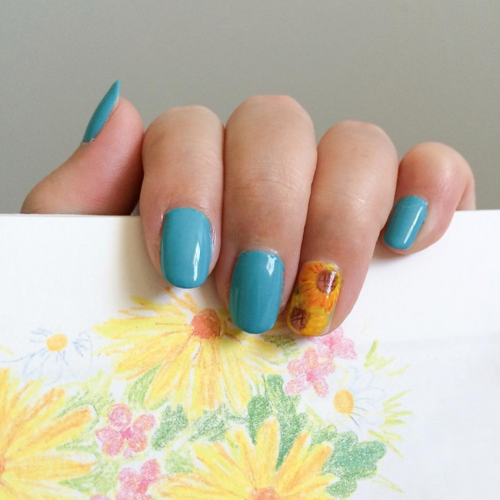Cute Diy Nails with Sunflower
