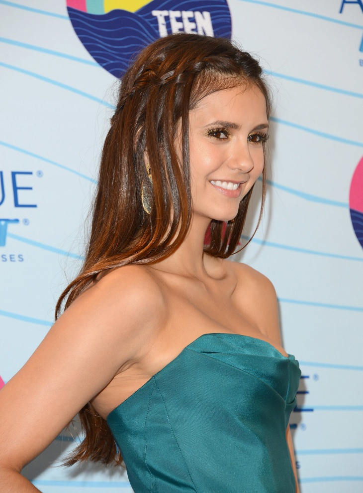 nina dobrev loose waterfall braid