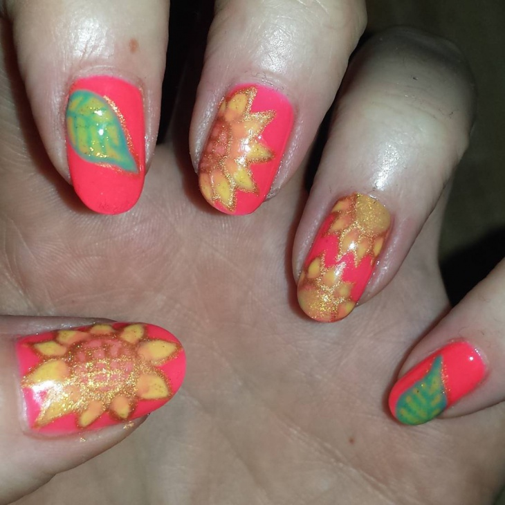Peach Color Nail Art Idea