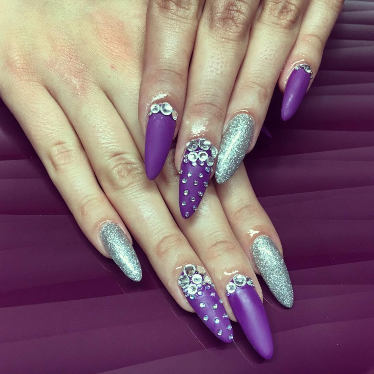 Gorgeous Purple Nails With Silver Glitter