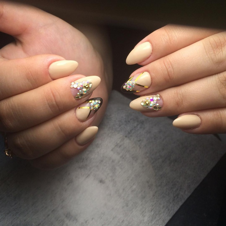 cream color rhinestone nail art idea