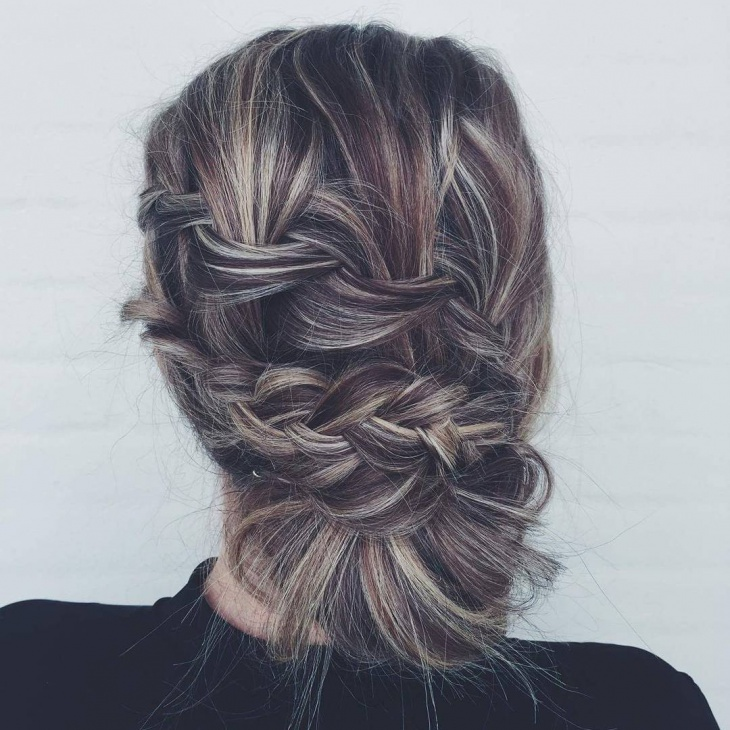 double waterfall bun updo