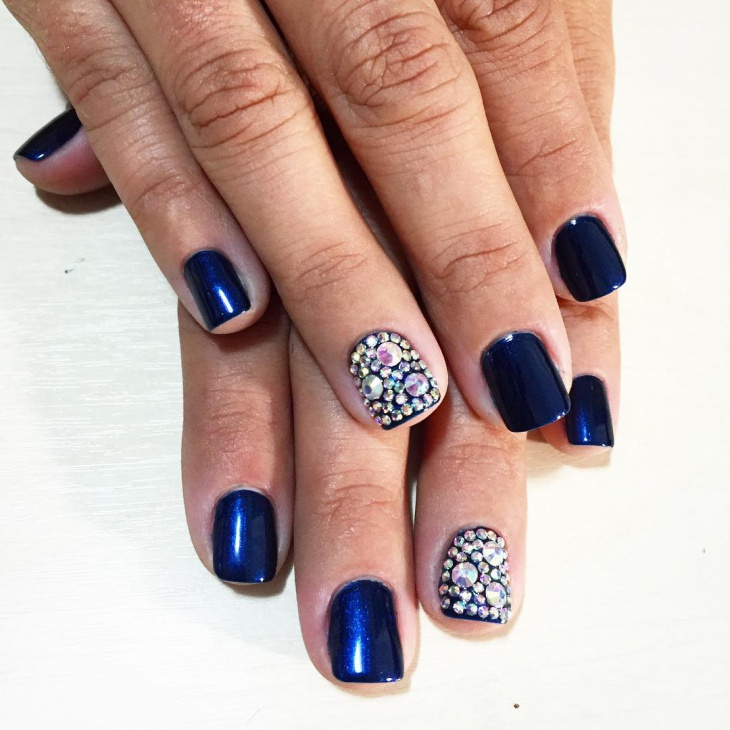 Dark Blue Crystal Nails