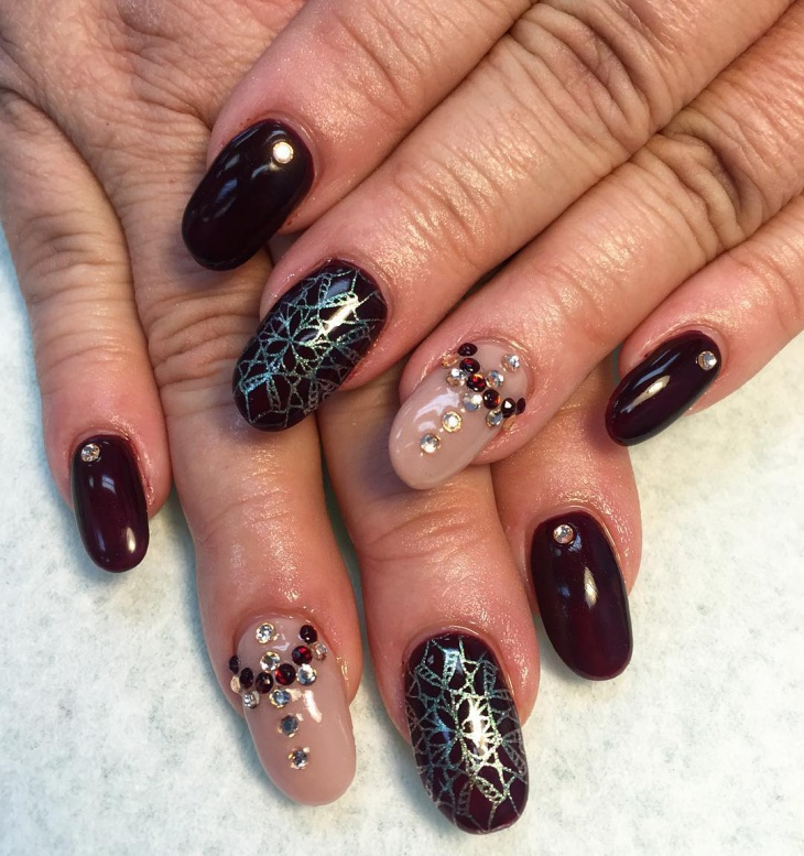 brown acrylic nail design picture
