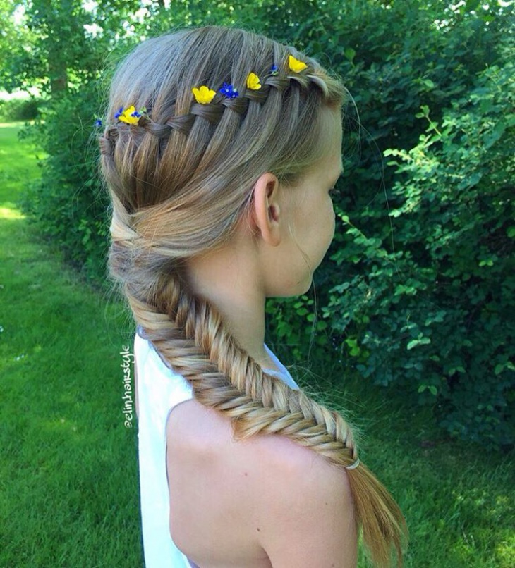 waterfall fishtail braid idea