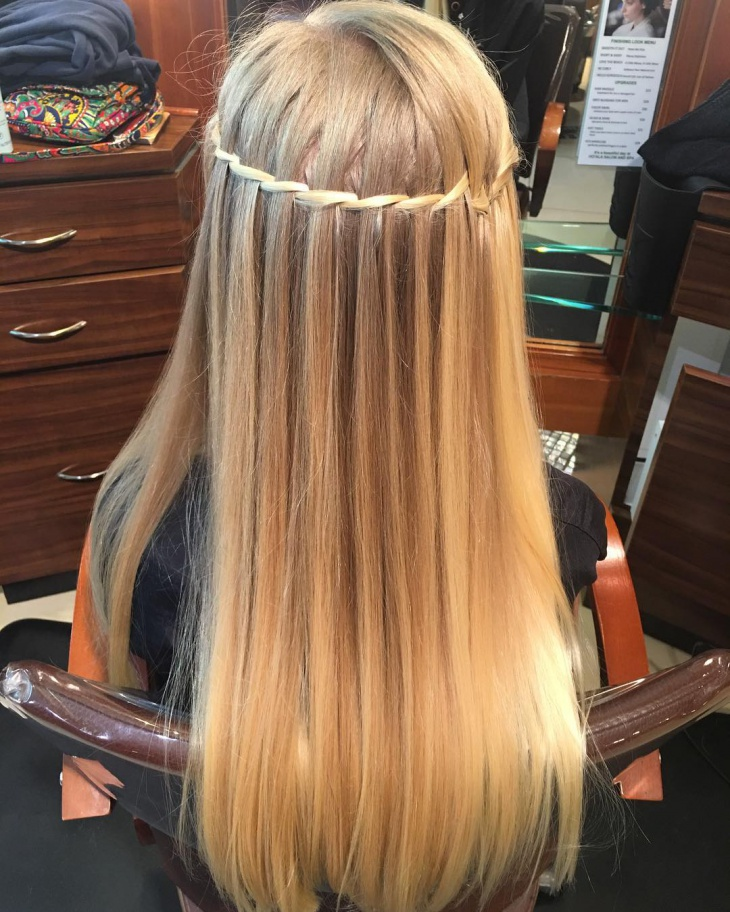 waterfall hairstyle for long hair