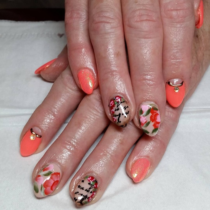 peach gel nail design