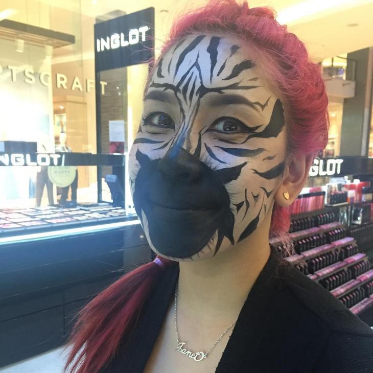Realistic Zebra Face Makeup