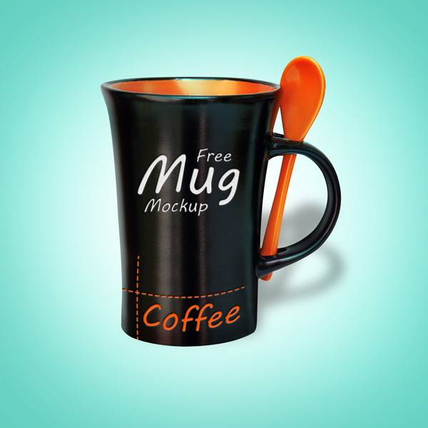 Black Coffee Mug Mock-up PSD