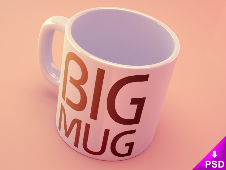 Big Coffee Mug Mockup PSD