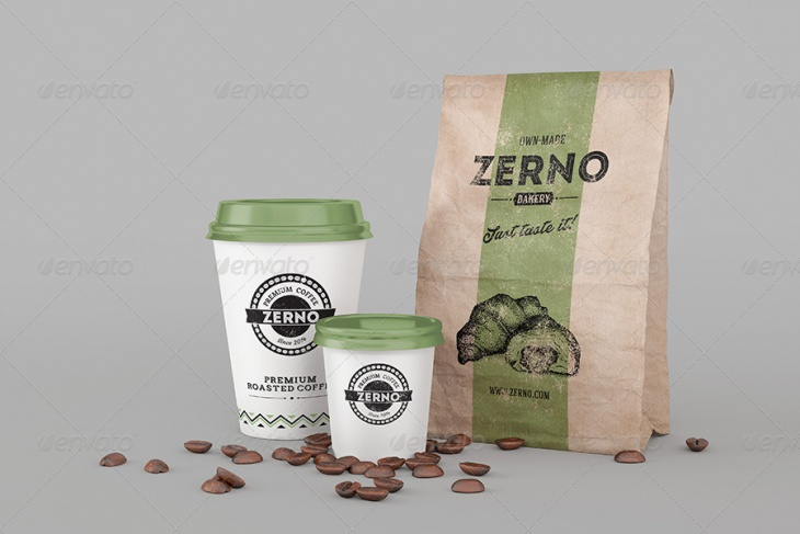 Coffee Cup Mockup with Coffee Bag