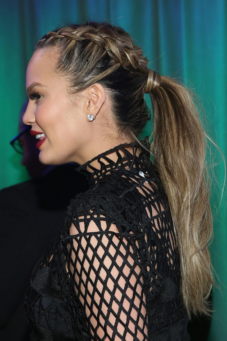 chrissy taigen french braid ponytail