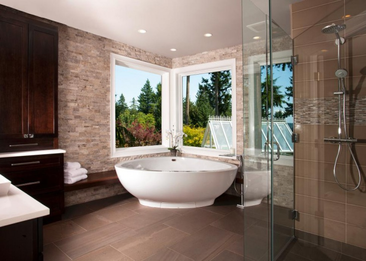 Awesome Bathroom with Corner Bath Tub