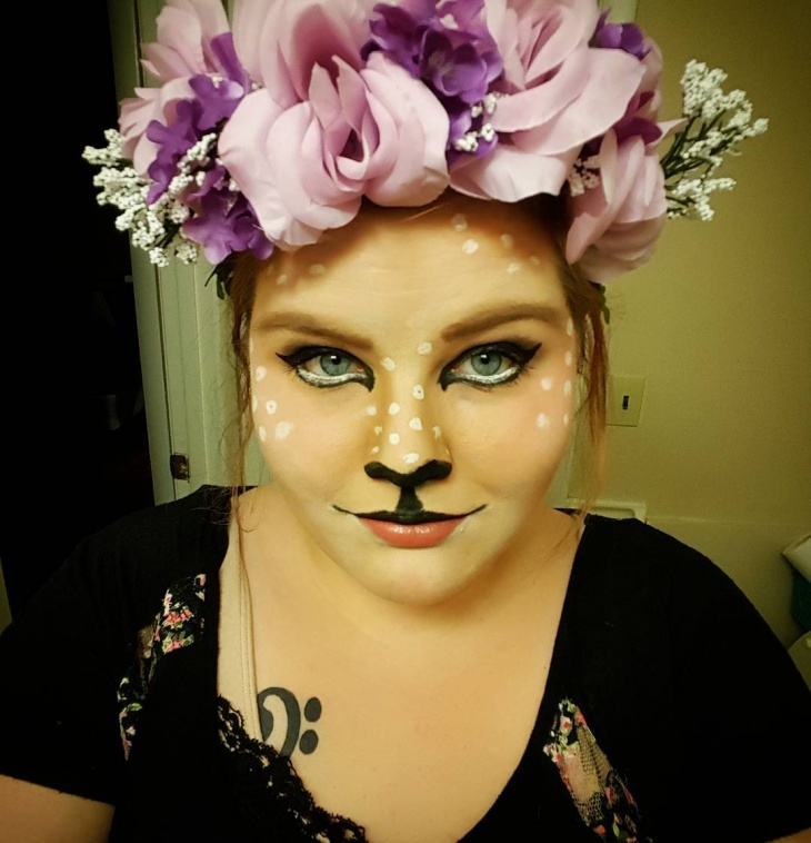 deer makeup with flower crown