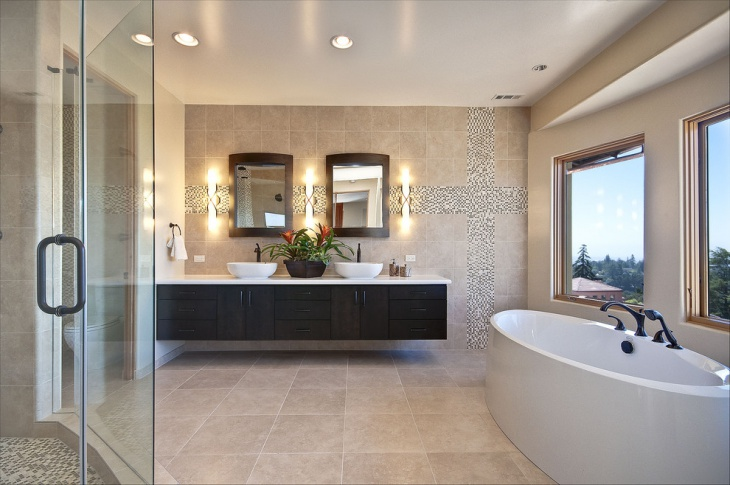 Gold Tile Bathroom Design