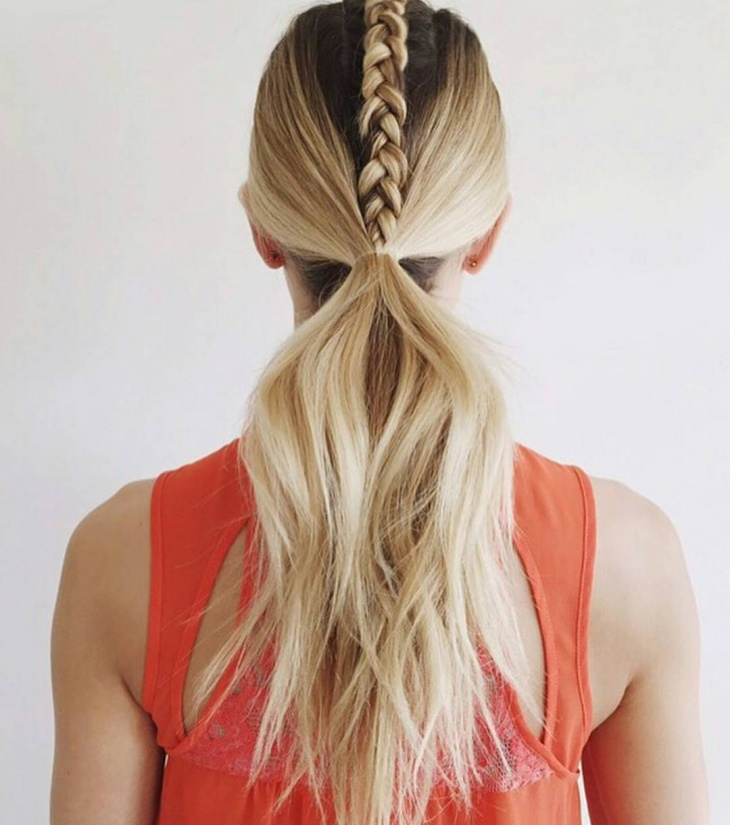 center braid ponytail