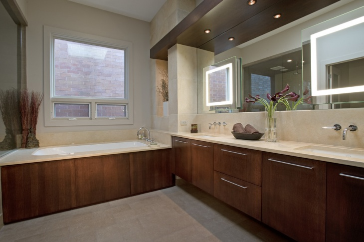 Unique Bathroom with Brown Cabinets