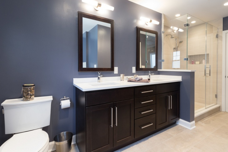 Classic Bathroom with Blue Wall Paint