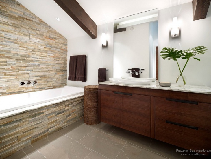 21 modern stone wall bathroom designs decorating ideas for Beautiful bathroom decor