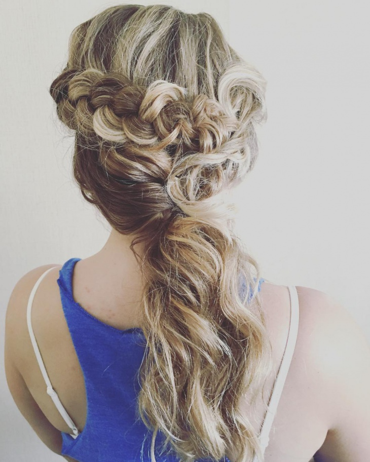 bridal french ponytail hairdo
