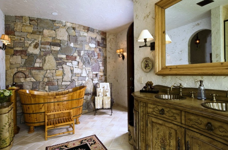 Traditional Bathroom with Wooden Soaking Tub