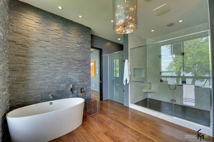 Stylish Gray Stonewall Bathroom