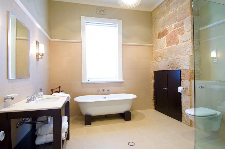 contemporary stone wall bathroom idea