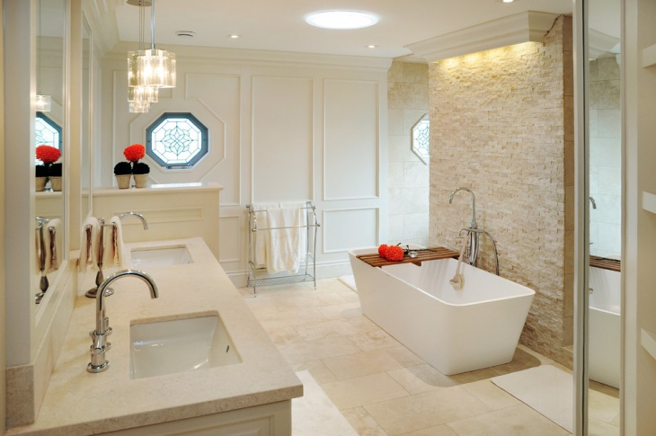 Awesome Lighting Stone Wall Panelling and Vanity