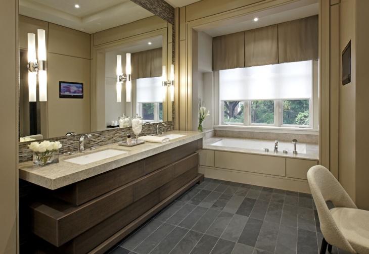 unique bathroom with large mirror