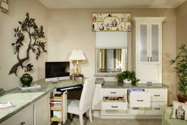 White Home Office With Sofa
