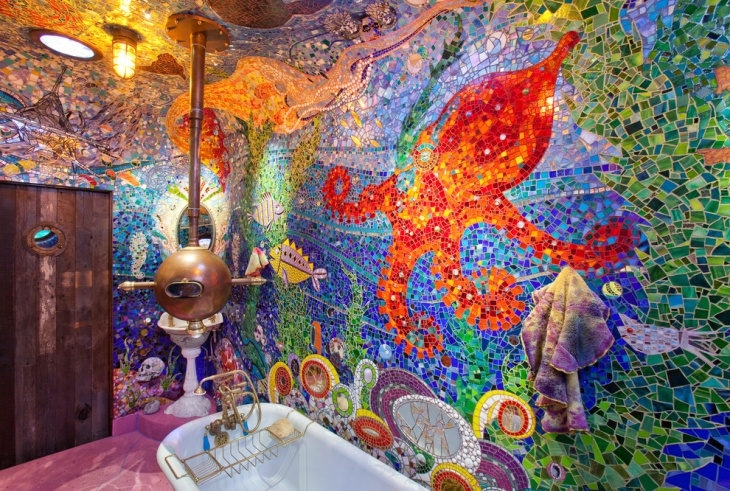 colorful eclectic bathroom