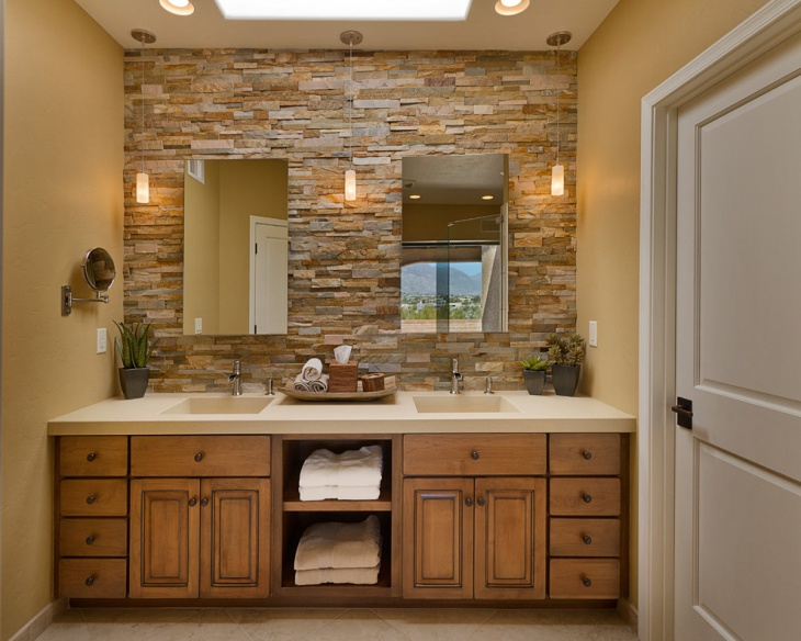 21+ Modern Stone Wall Bathroom Designs, Decorating Ideas