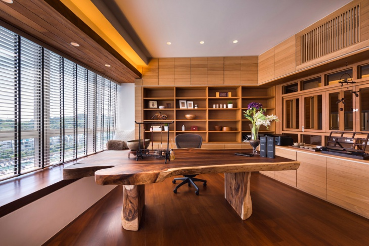 wooden home office interior decor