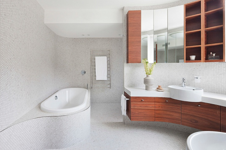 Spacious Bathroom with Wooden Cabinets