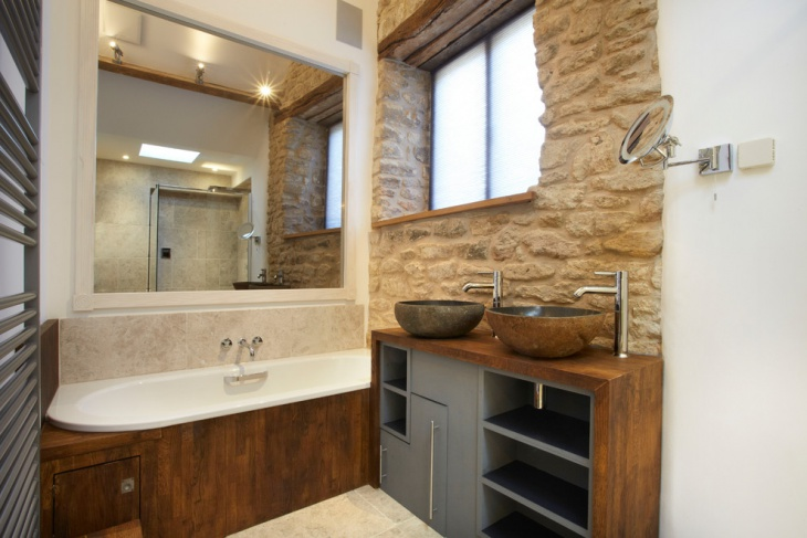 Attractive Stone Bathroom and Cabinets with Half Rock Sinks
