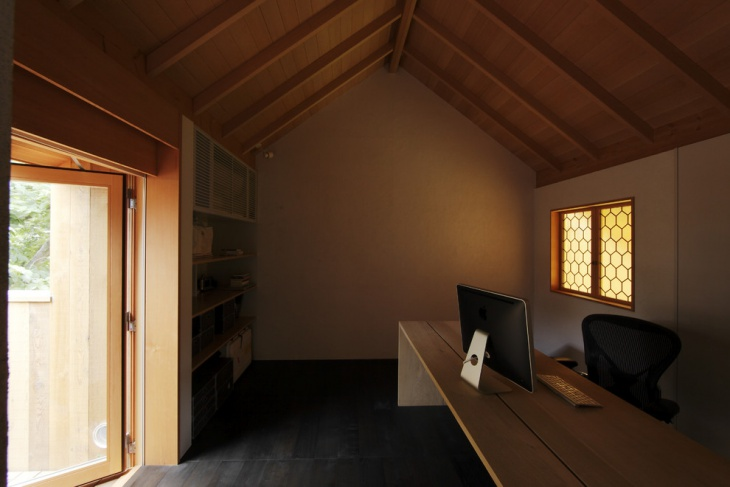 rustic wooden office design