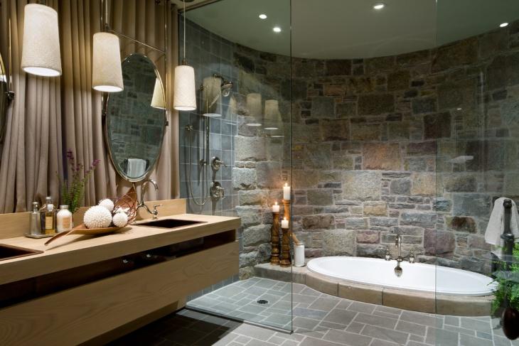 brown stone wall bathroom design