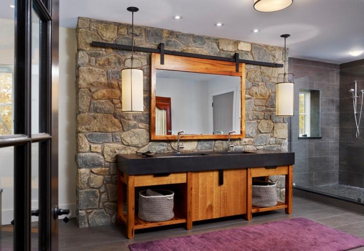 polished stone wall bathroom with vanity