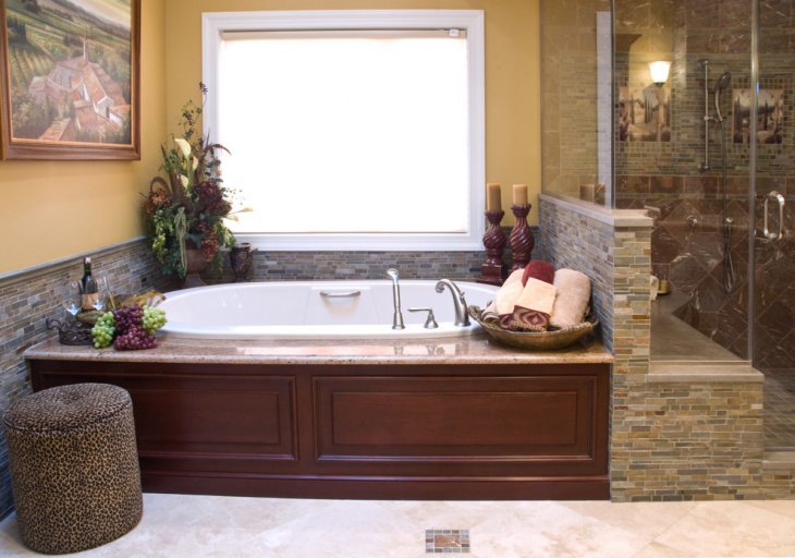 Chic Stone Wall Bathroom Design