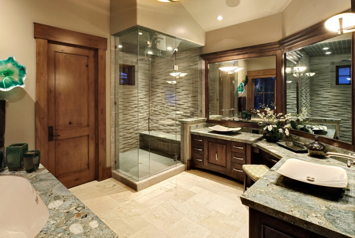 Slick Traditional Stone Wall Bathroom Design