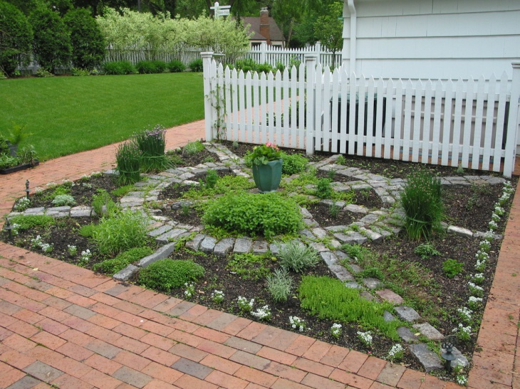 outdoor garden with stone floor