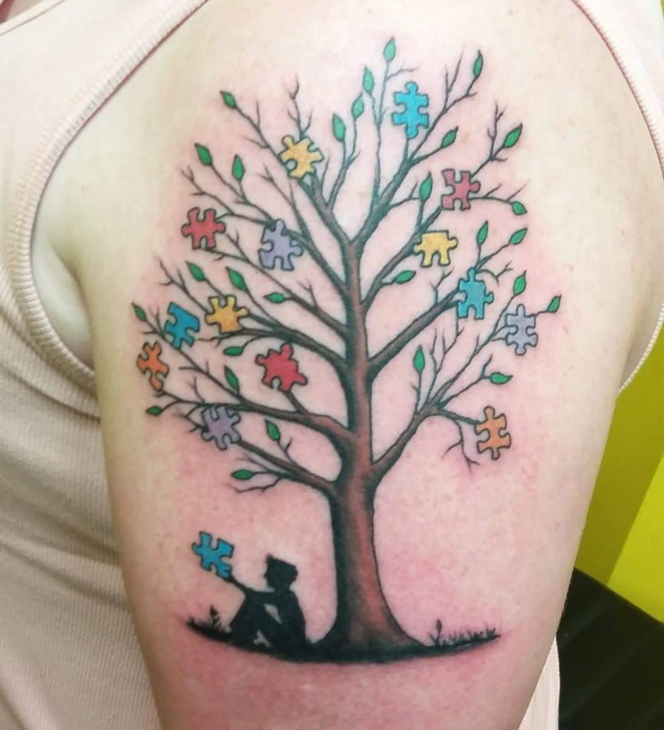 Tree Puzzle Sleeve Tattoo