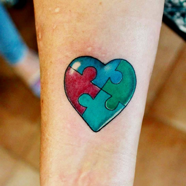 beautiful heart puzzle tattoo