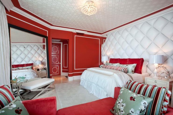 Red and White Bedroom Design Idea