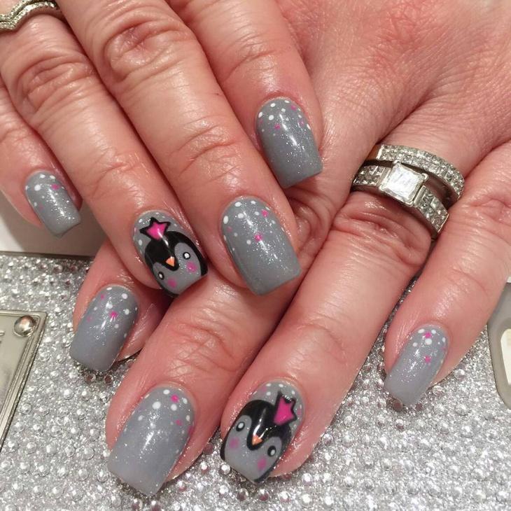 Grey Shimmer Nail Design