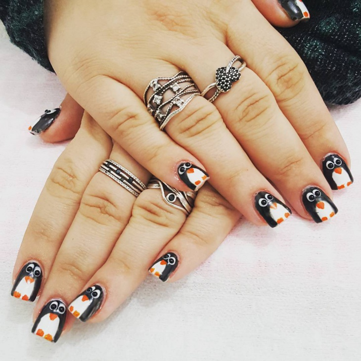 Awesome Penguin Nail Art