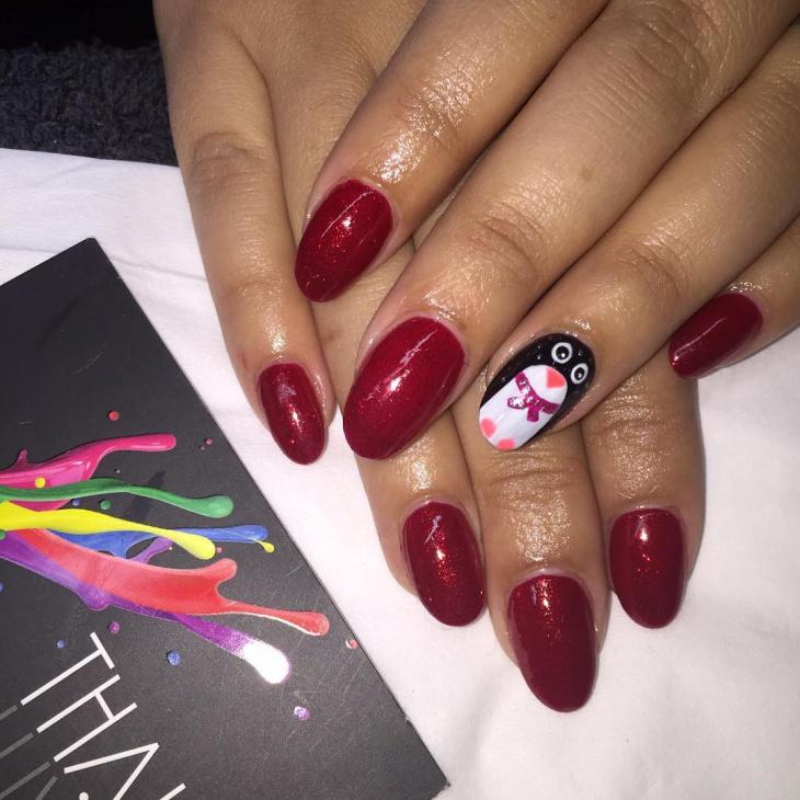 Red Penguin Gel Nail Art