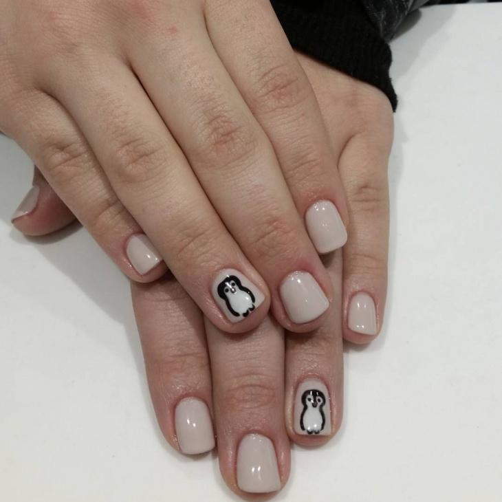 Penguin Acrylic Nail Design