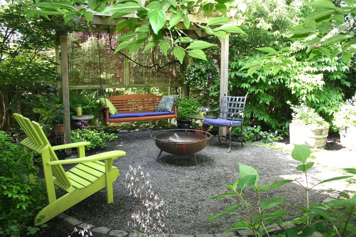 vintage style landscape with rustic fire pit